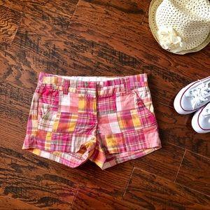 J. Crew Pink and Orange Madras Shorts